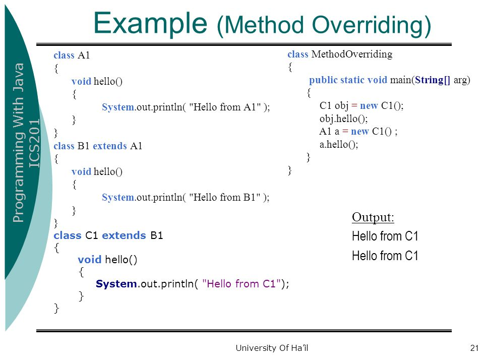 Example (Method Overriding)
