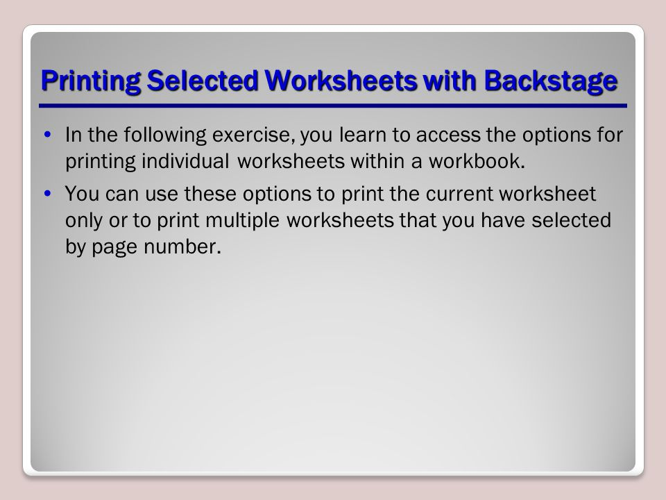 Printing Selected Worksheets with Backstage