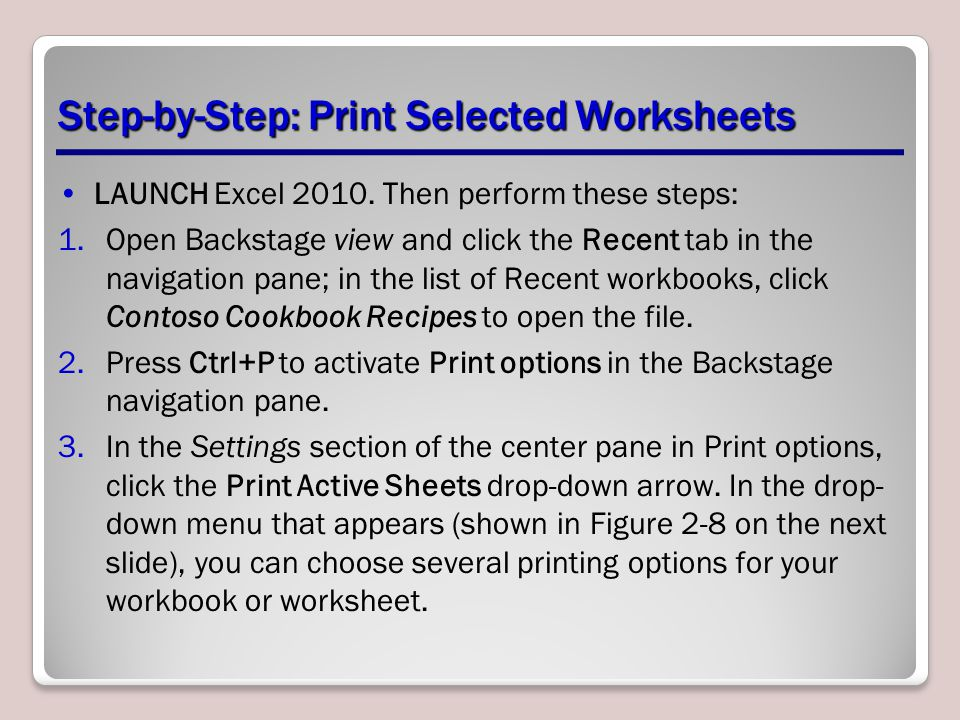 Step-by-Step: Print Selected Worksheets