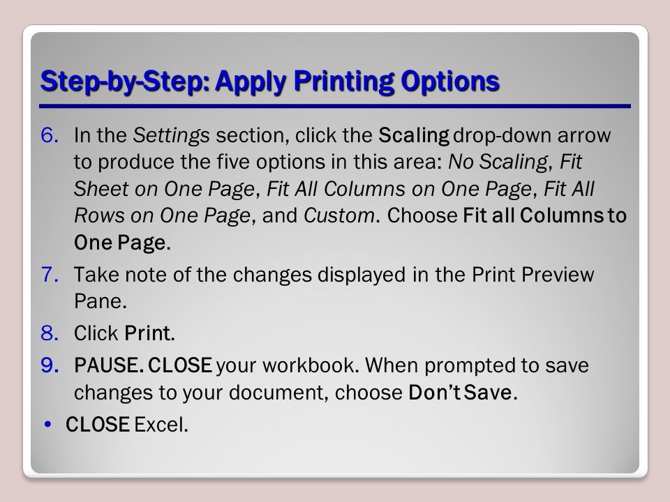 Step-by-Step: Apply Printing Options