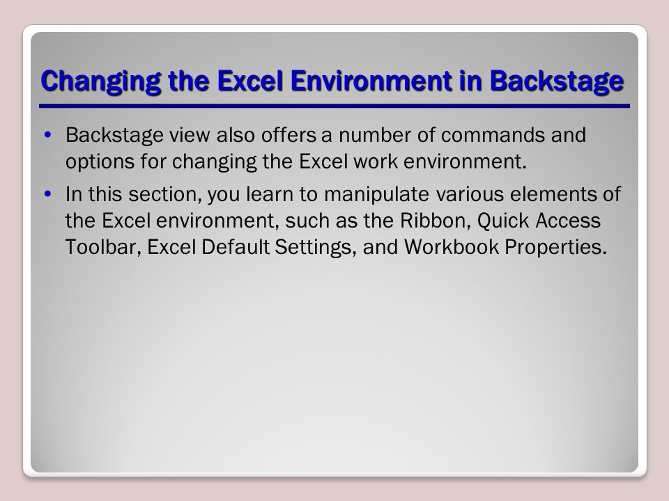 Changing the Excel Environment in Backstage
