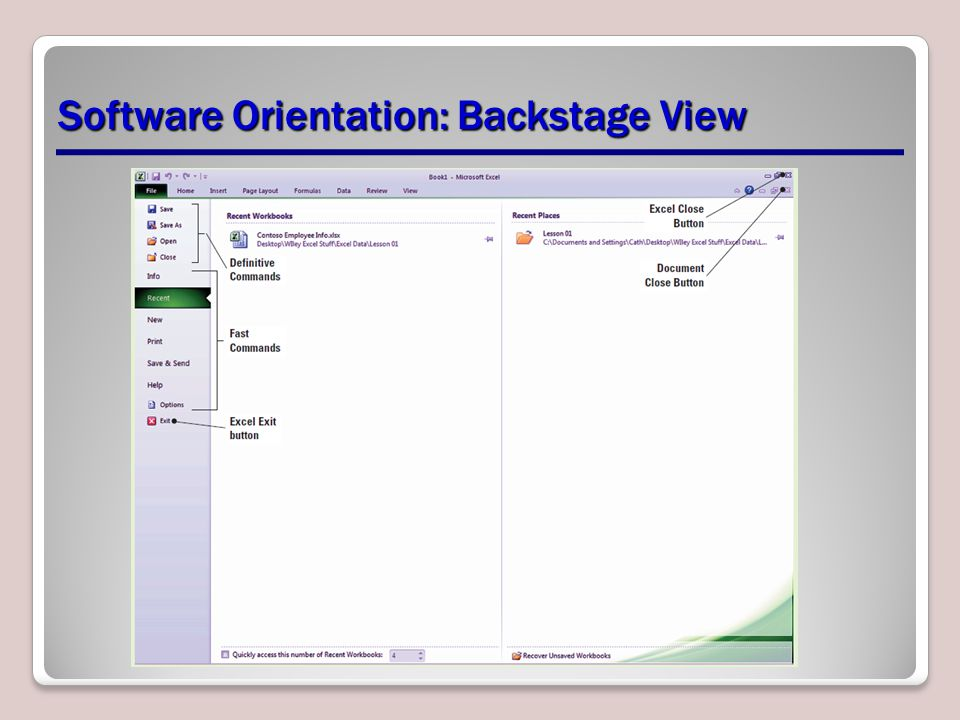Software Orientation: Backstage View