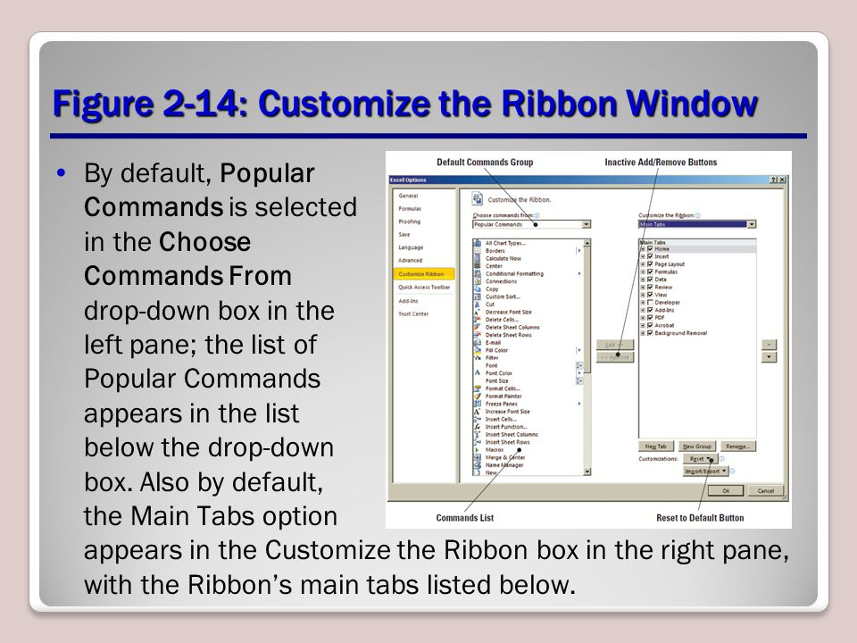 Figure 2-14: Customize the Ribbon Window