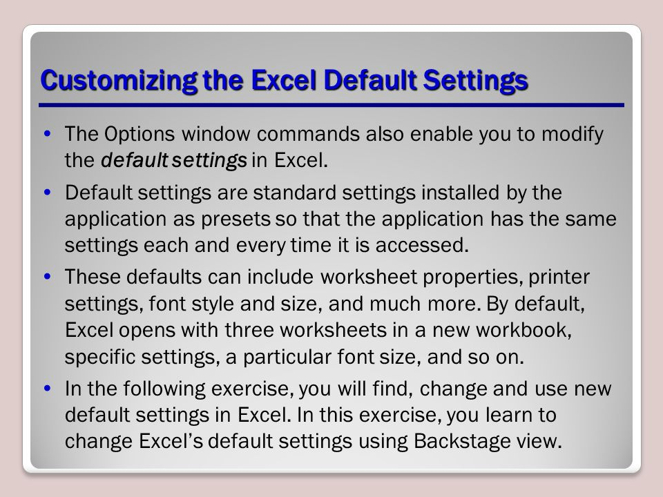 Customizing the Excel Default Settings