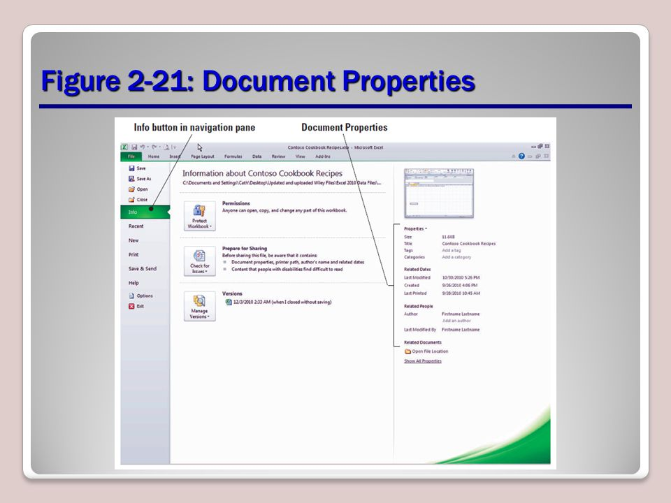 Figure 2-21: Document Properties