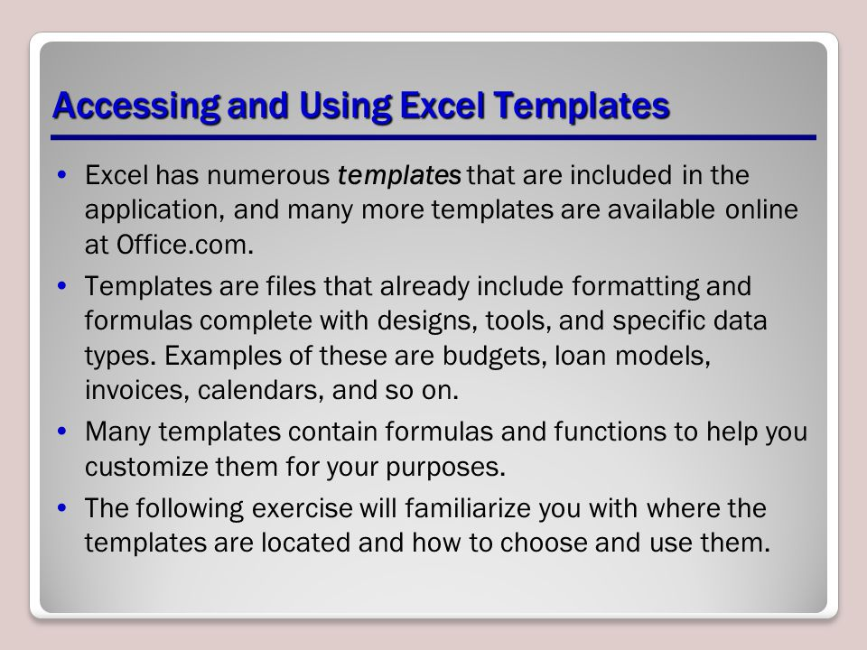 Accessing and Using Excel Templates