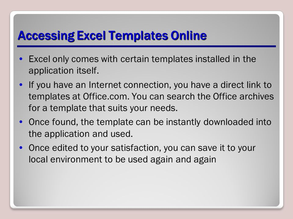 Accessing Excel Templates Online
