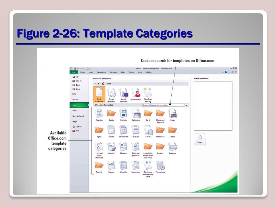 Figure 2-26: Template Categories