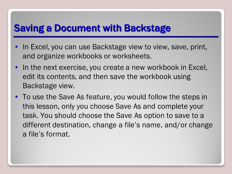 Saving a Document with Backstage