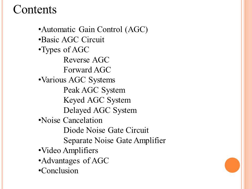 Contents Automatic Gain Control (AGC) Basic AGC Circuit Types of AGC