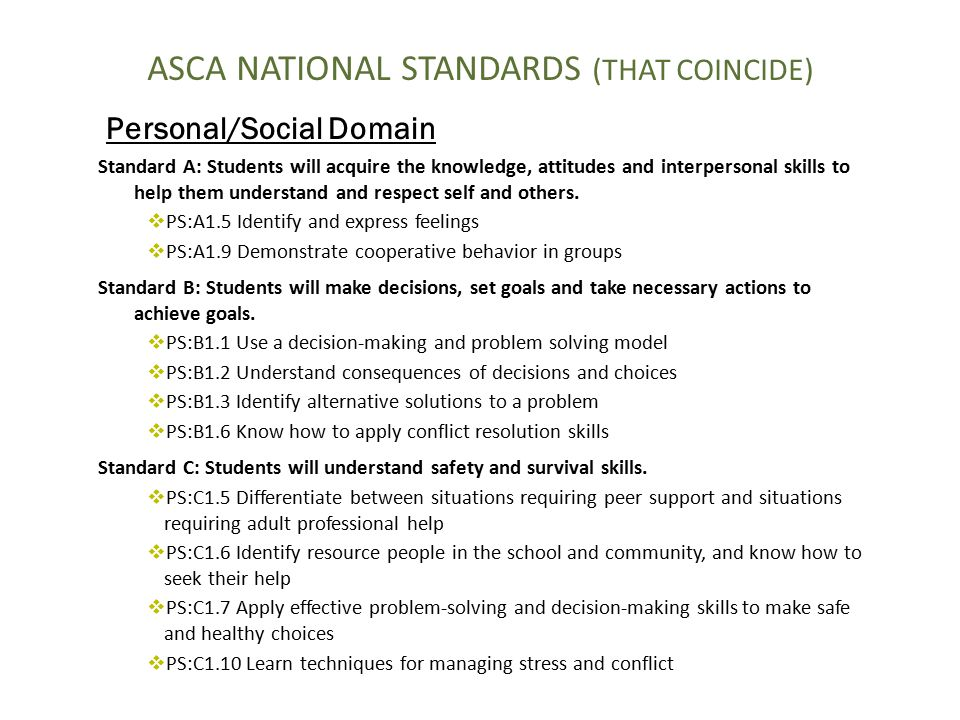 ASCA NATIONAL STANDARDS (THAT COINCIDE)