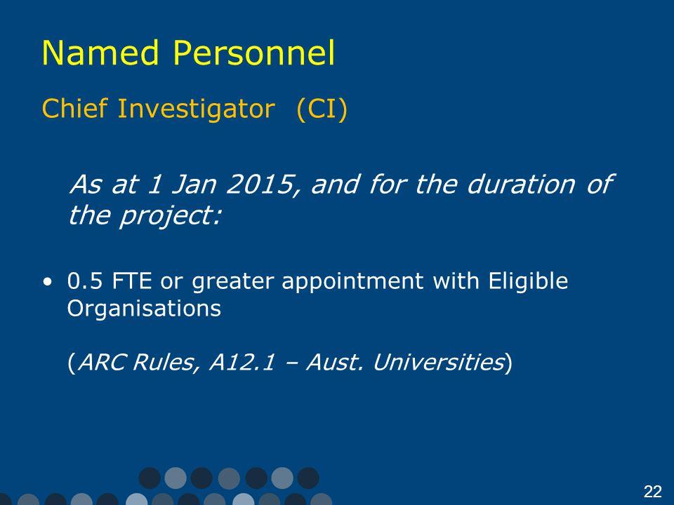 Named Personnel Chief Investigator (CI)