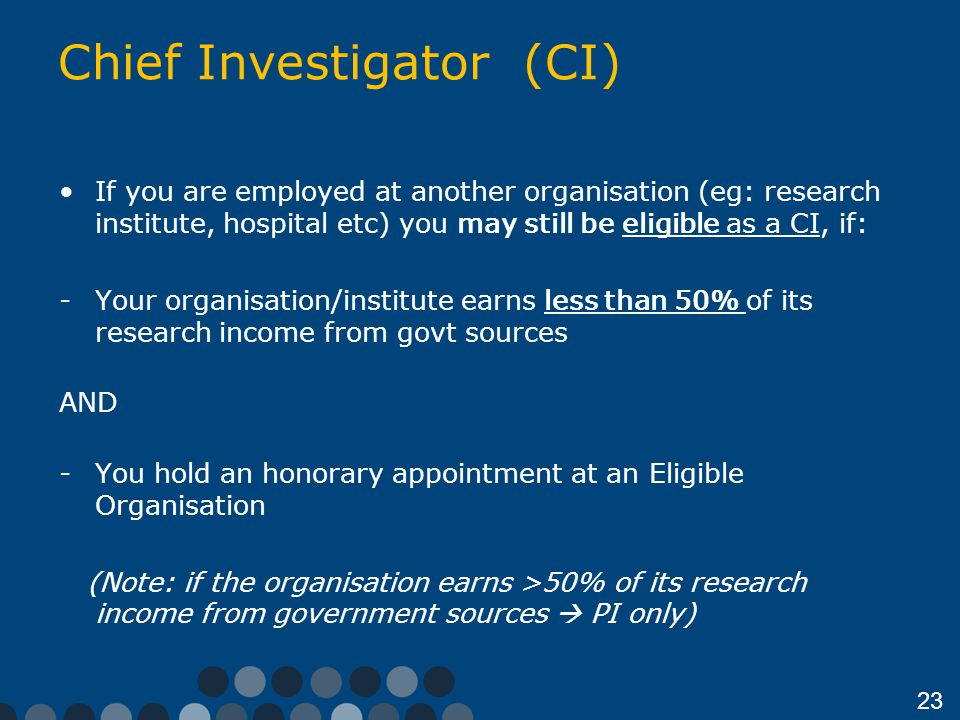 Chief Investigator (CI)