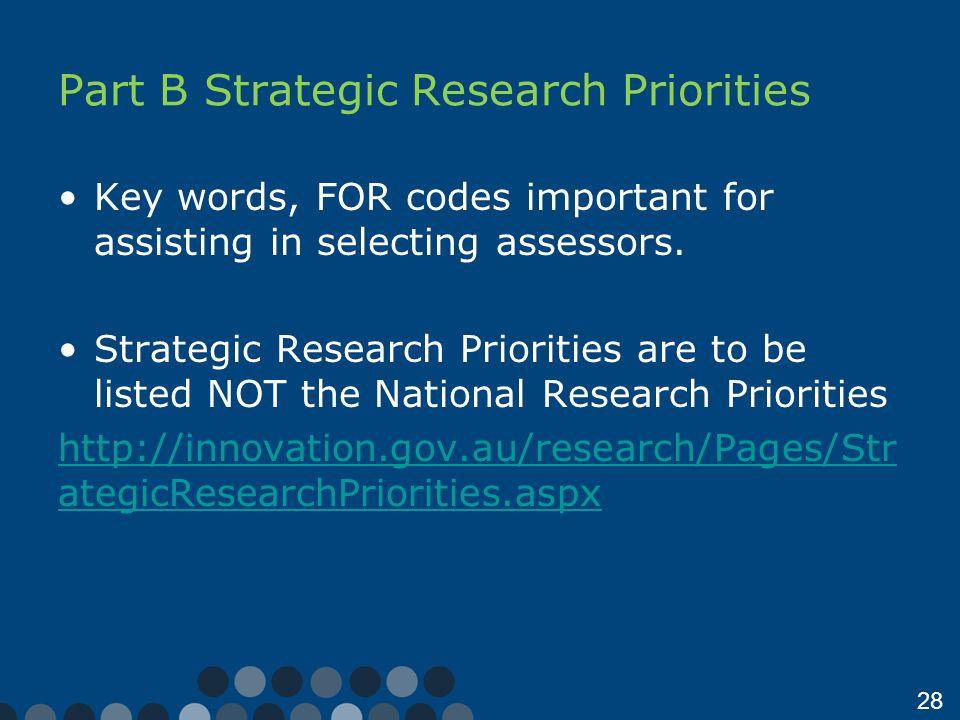 Part B Strategic Research Priorities