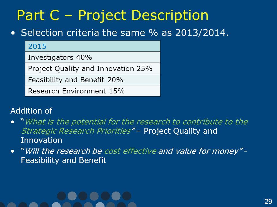 Part C – Project Description