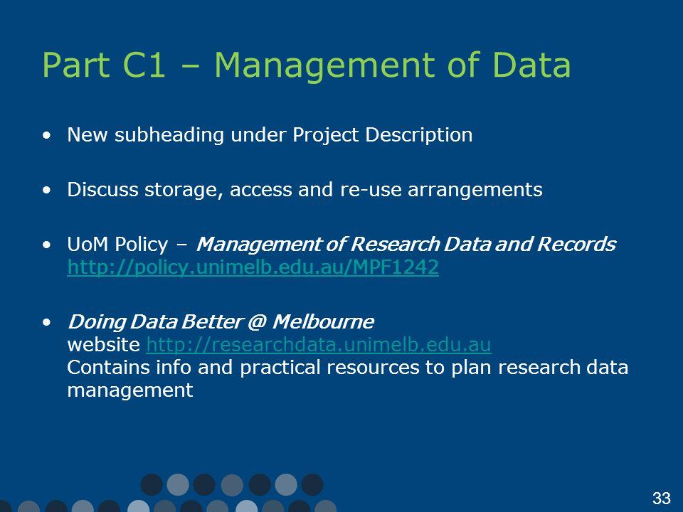 Part C1 – Management of Data