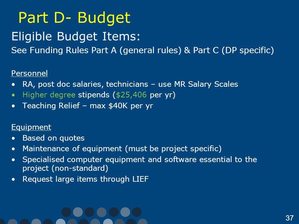 Part D- Budget Eligible Budget Items: