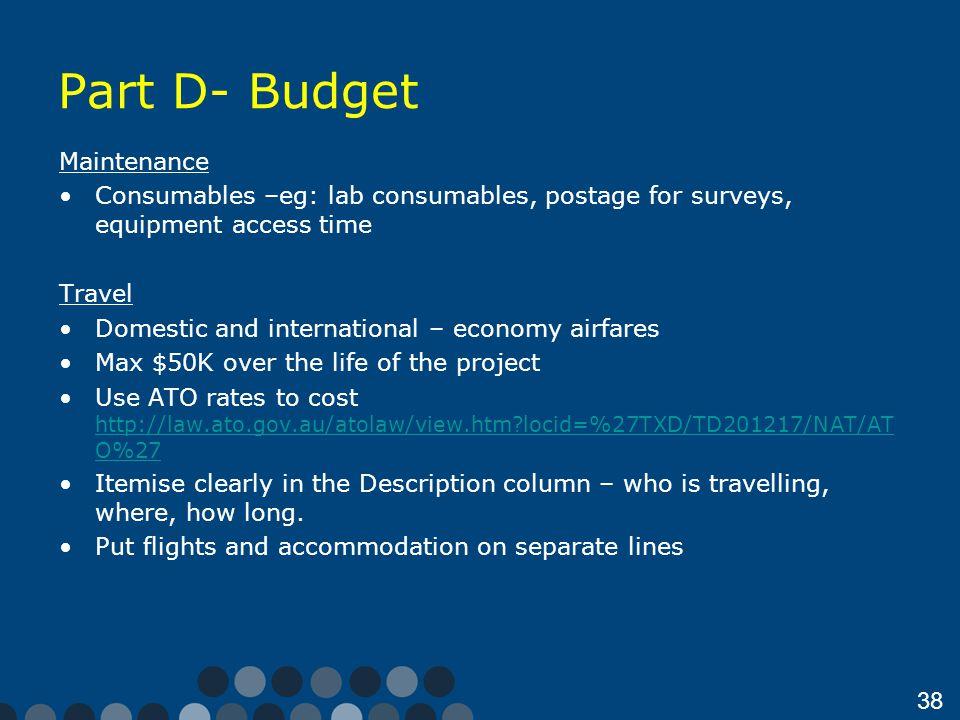 Part D- Budget Maintenance