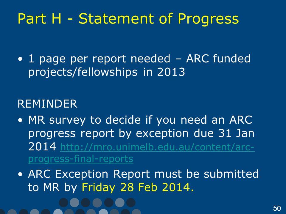 Part H - Statement of Progress