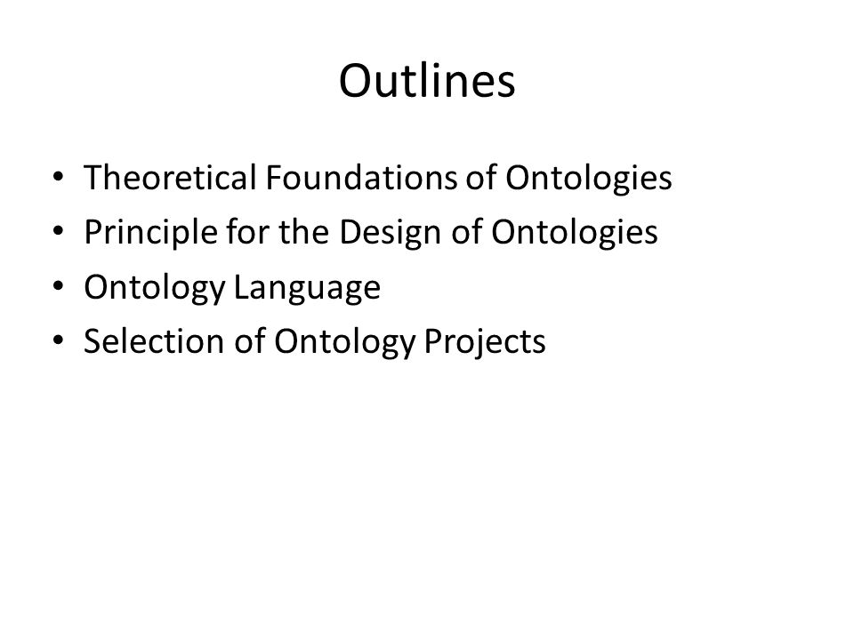 Outlines Theoretical Foundations of Ontologies