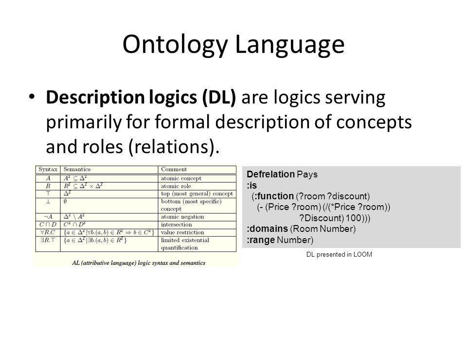 Ontology Language Description logics (DL) are logics serving primarily for formal description of concepts and roles (relations).