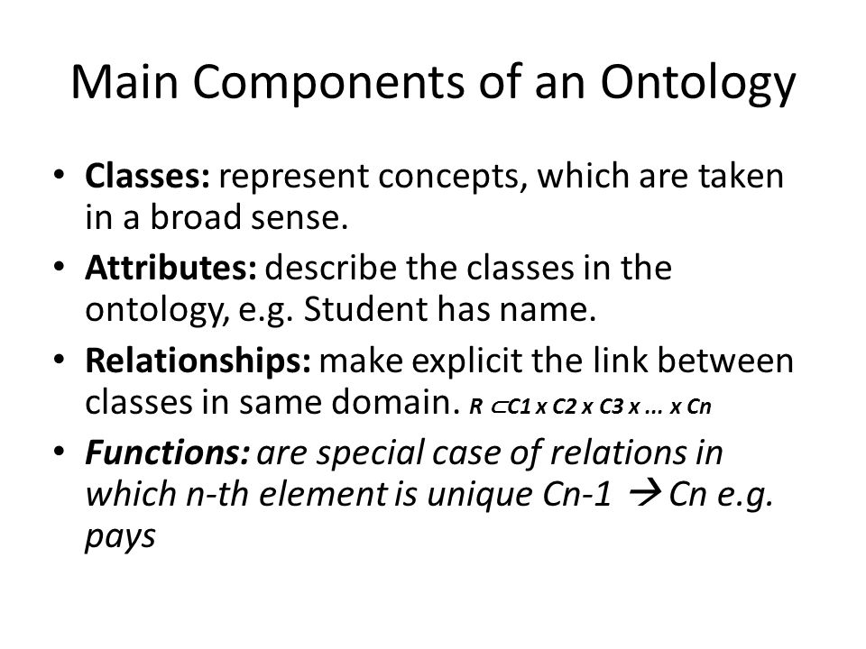 Main Components of an Ontology