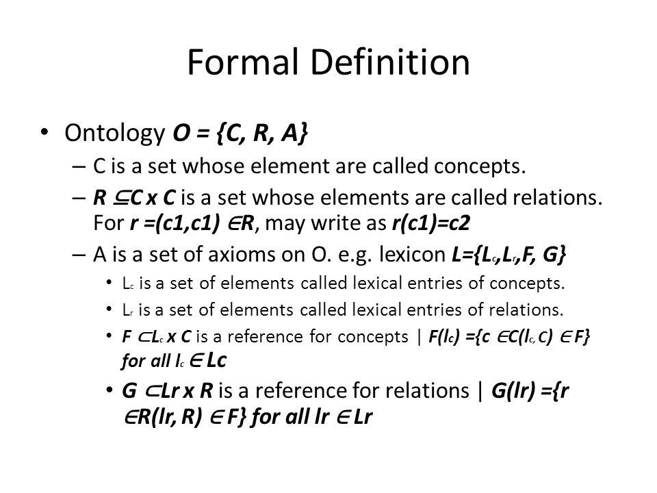 Formal Definition Ontology O = {C, R, A}
