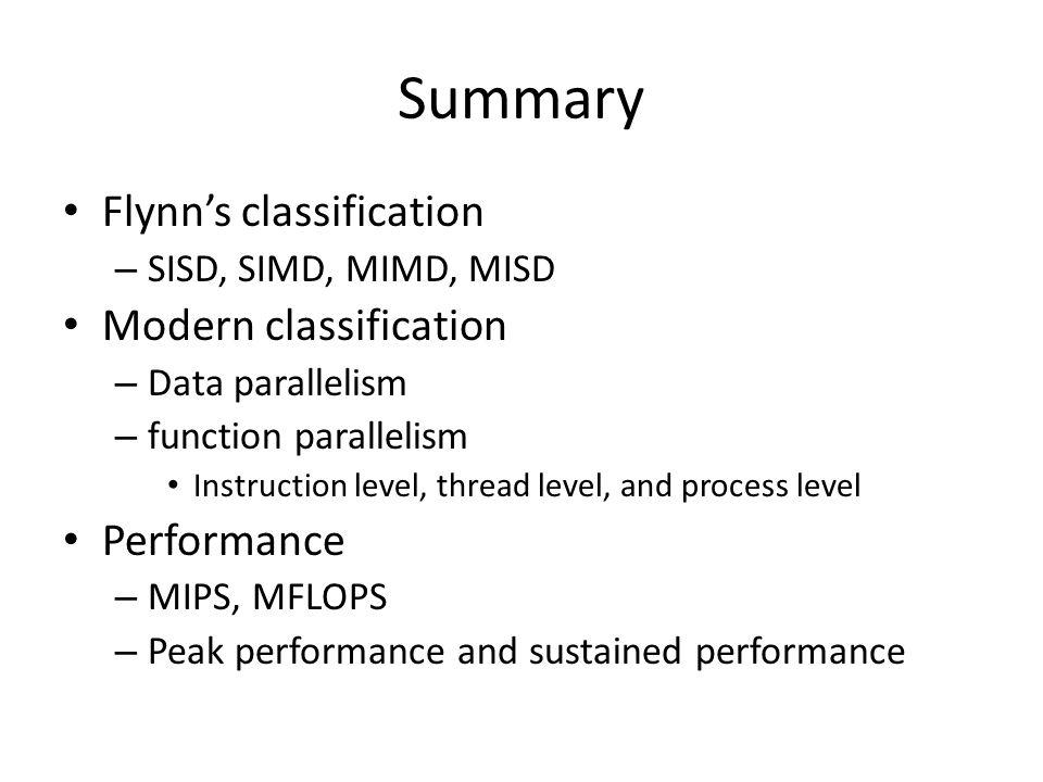 Summary Flynn's classification Modern classification Performance