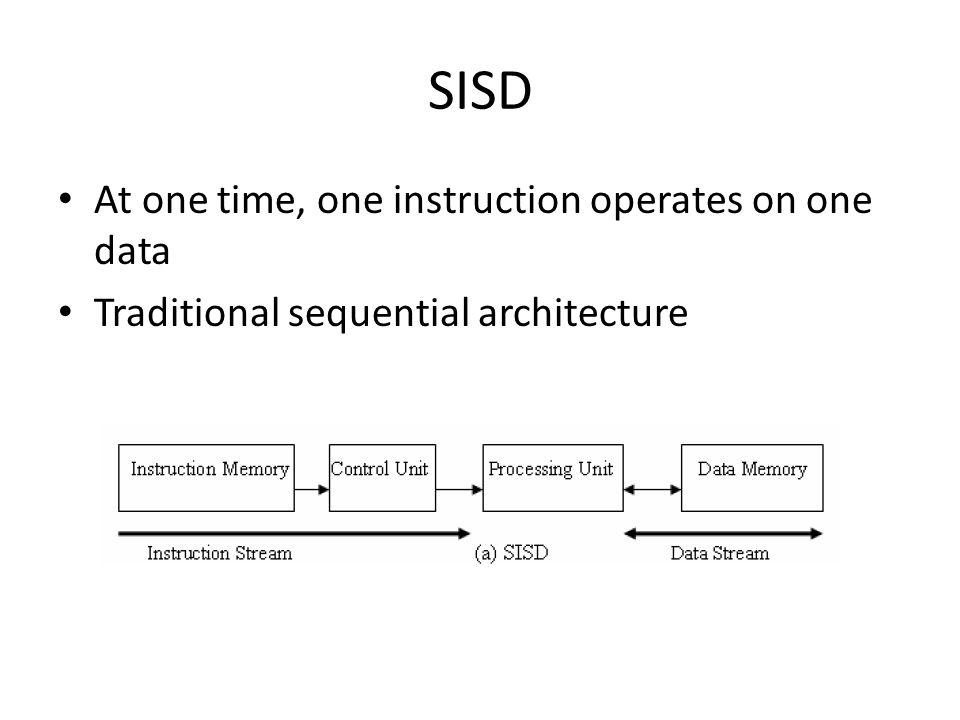 SISD At one time, one instruction operates on one data
