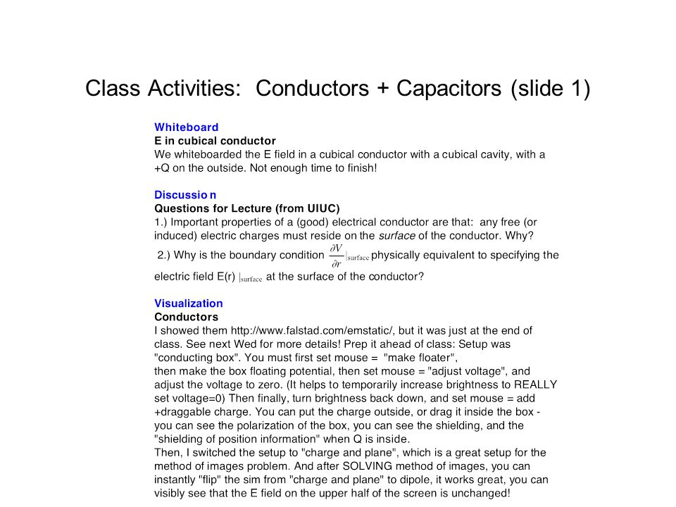 Class Activities: Conductors + Capacitors (slide 1)