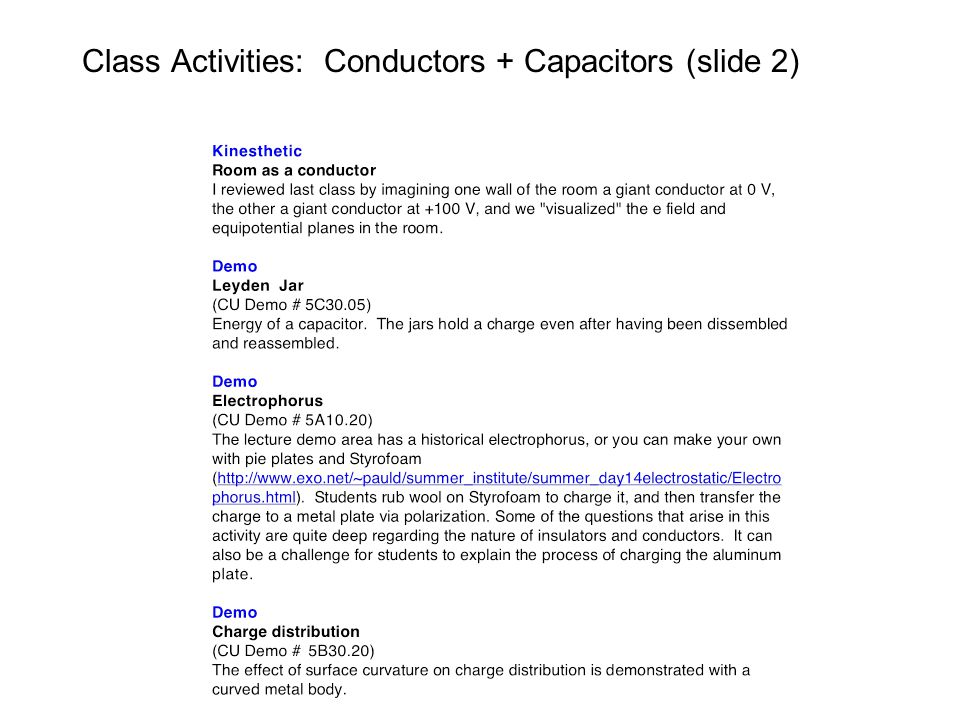 Class Activities: Conductors + Capacitors (slide 2)