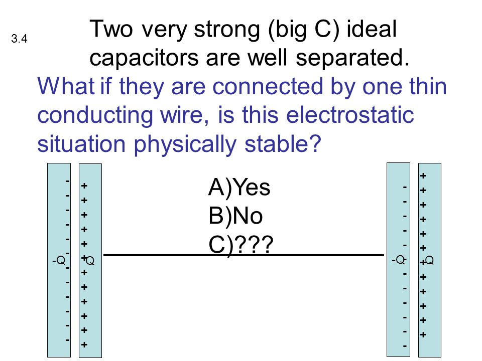 Two very strong (big C) ideal capacitors are well separated.