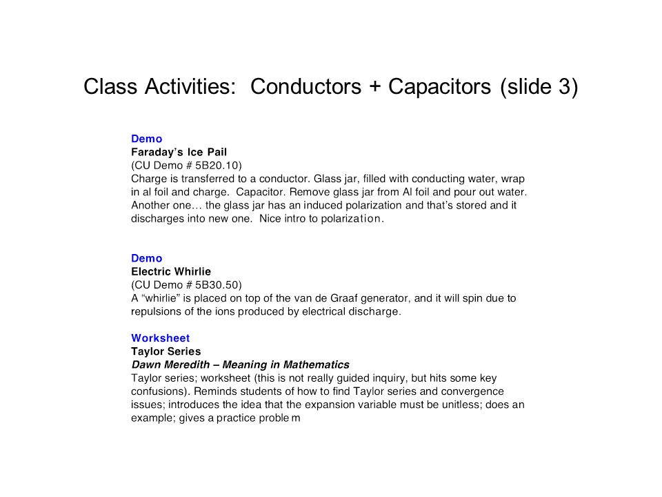 Class Activities: Conductors + Capacitors (slide 3)