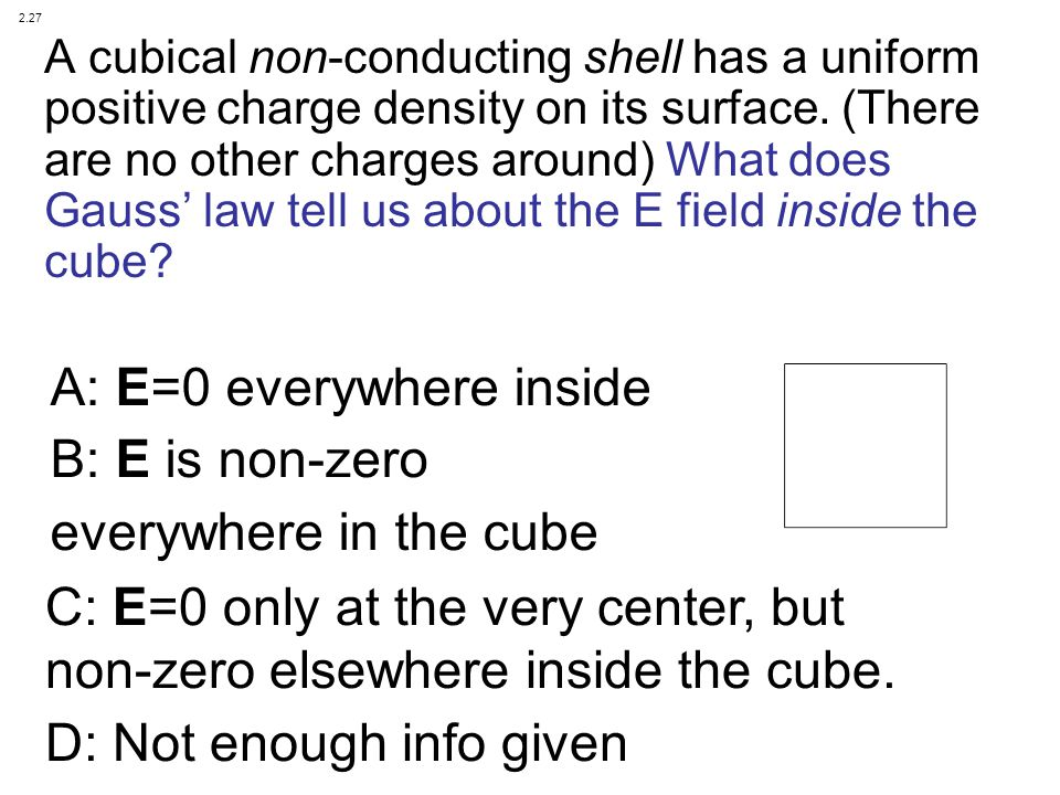 A: E=0 everywhere inside B: E is non-zero everywhere in the cube
