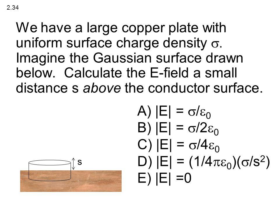We have a large copper plate with uniform surface charge density 