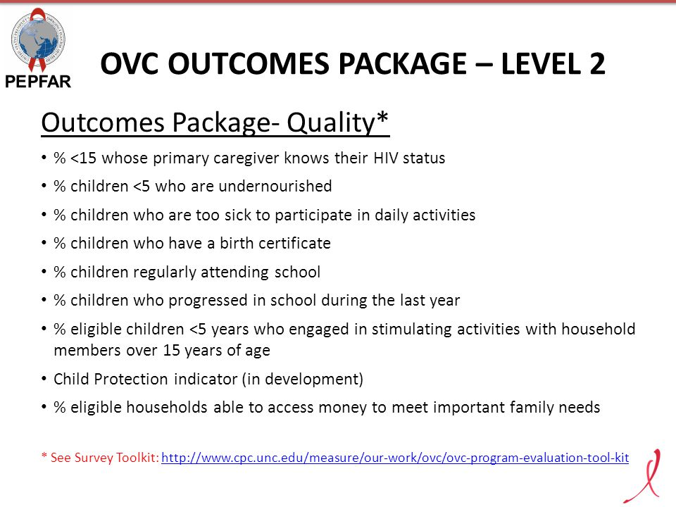OVC OUTCOMES PACKAGE – LEVEL 2