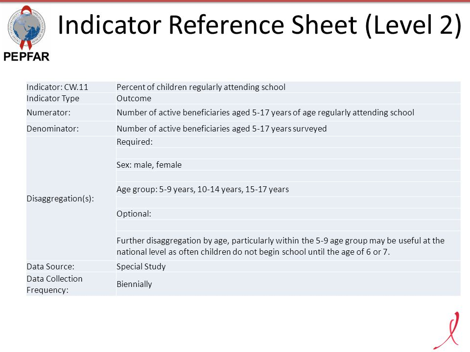 Indicator Reference Sheet (Level 2)