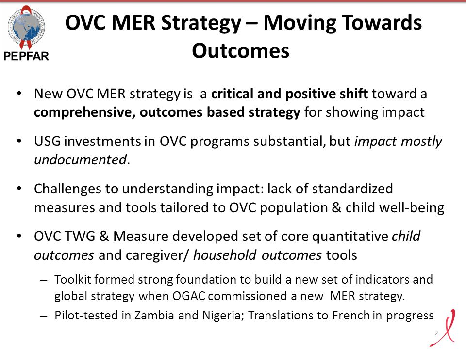 OVC MER Strategy – Moving Towards Outcomes