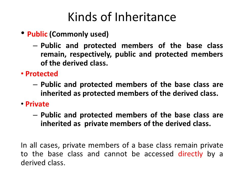 Kinds of Inheritance Public (Commonly used)
