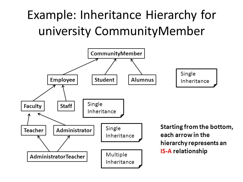 Example: Inheritance Hierarchy for university CommunityMember