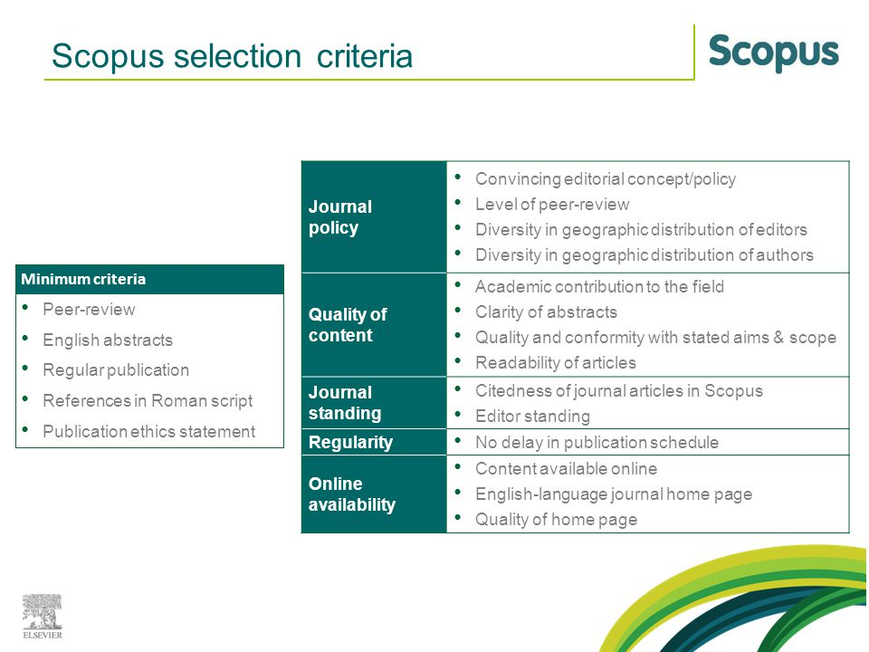 Scopus selection criteria