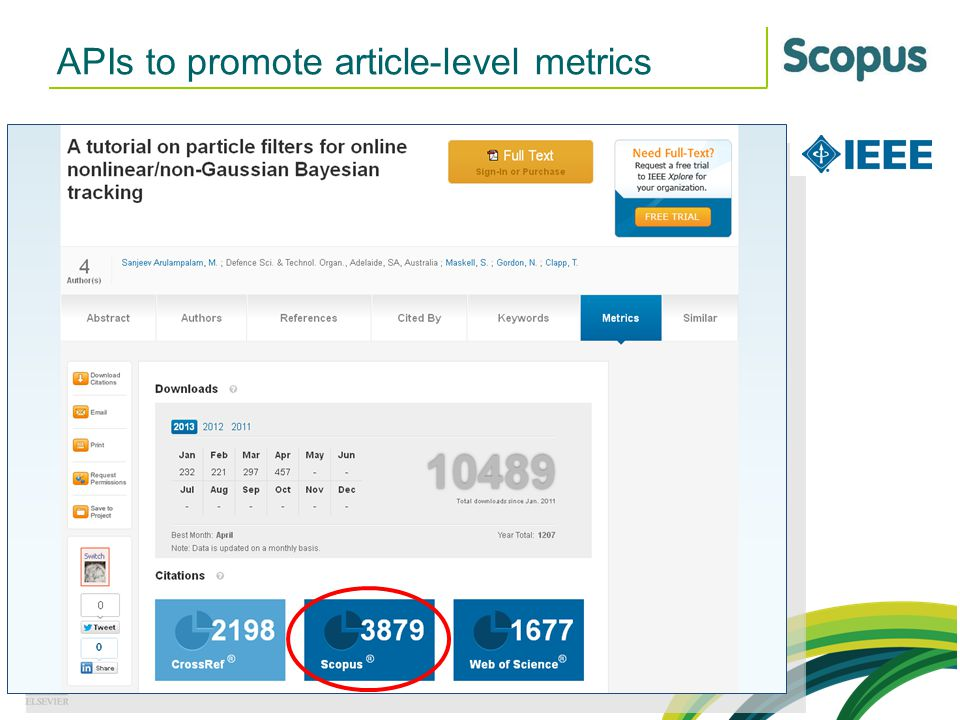 APIs to promote article-level metrics