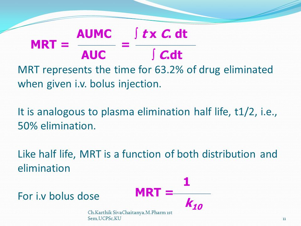 MRT represents the time for 63. 2% of drug eliminated when given i. v