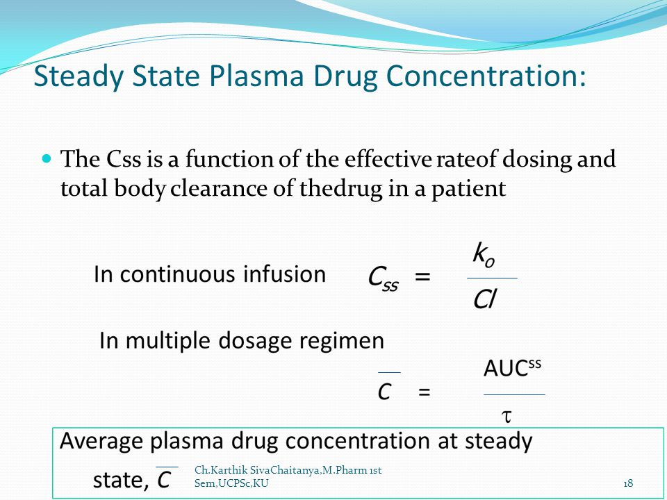 Steady State Plasma Drug Concentration: