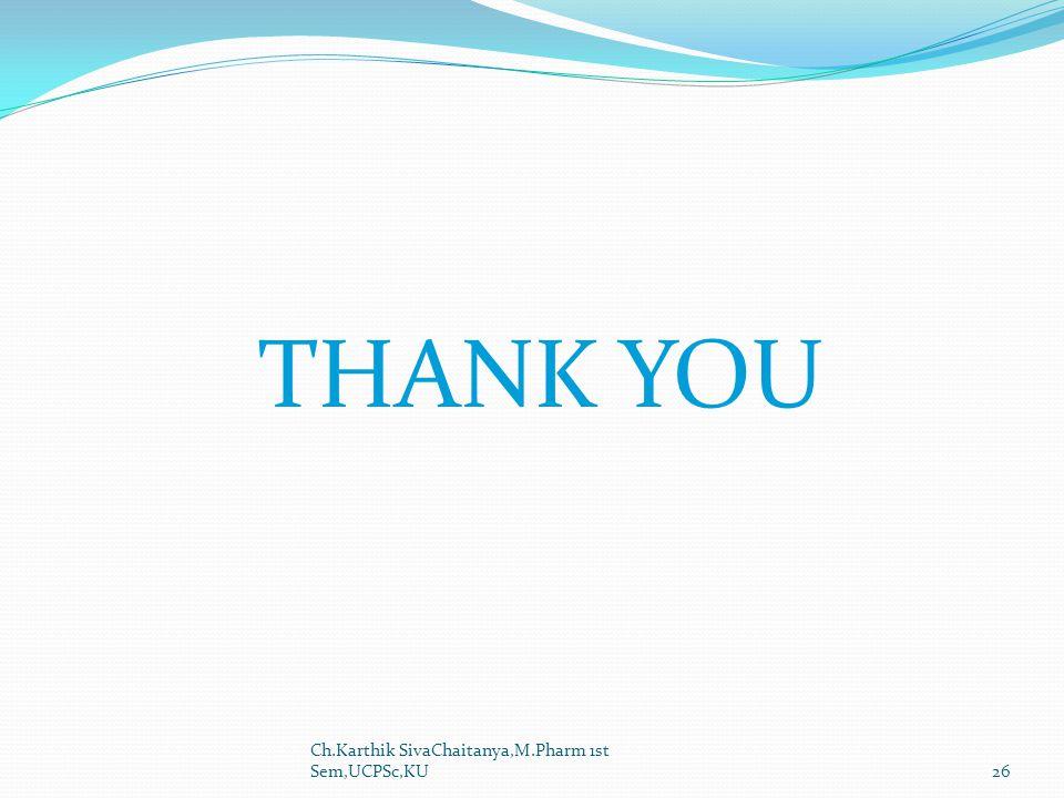 THANK YOU Ch.Karthik SivaChaitanya,M.Pharm 1st Sem,UCPSc,KU