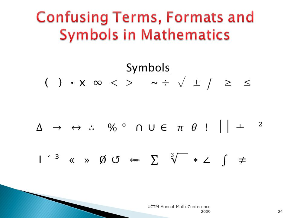 Confusing Terms, Formats and Symbols in Mathematics