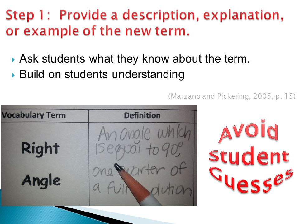 Step 1: Provide a description, explanation, or example of the new term.