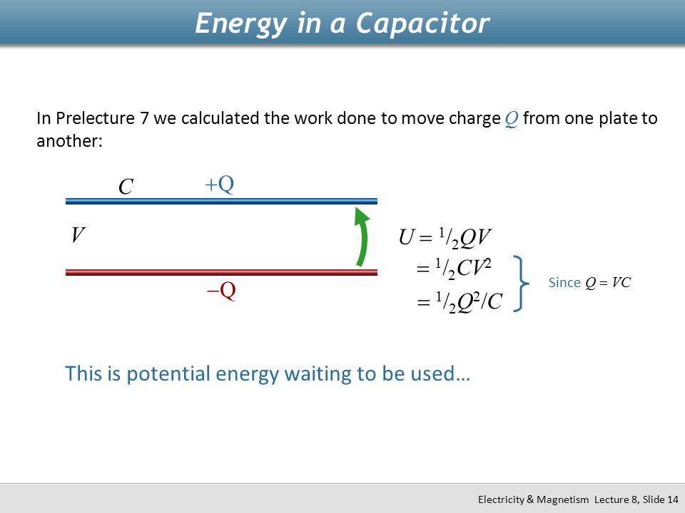 Energy in a Capacitor +Q C V U = 1/2QV = 1/2CV2 -Q = 1/2Q2/C