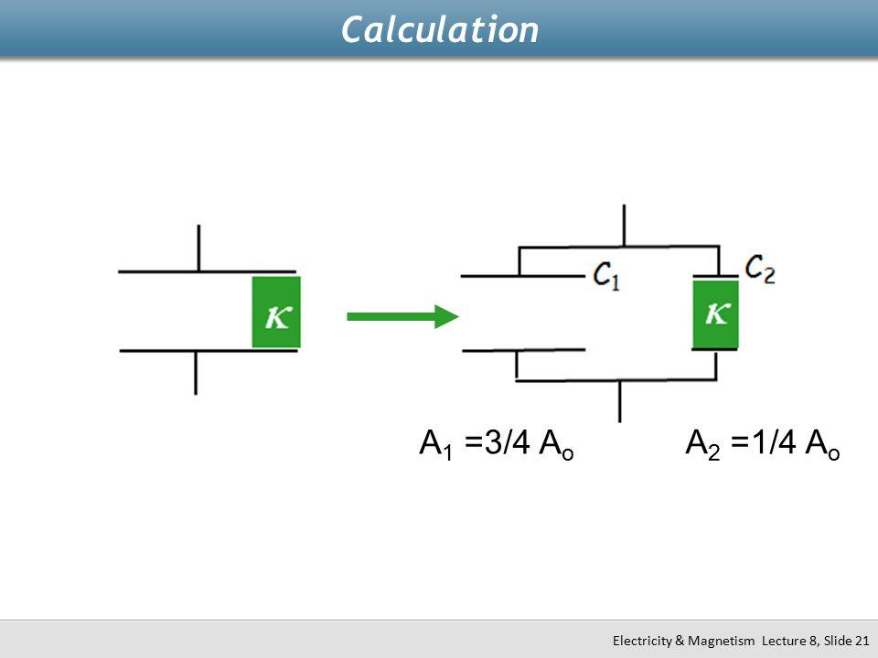 Calculation A1 =3/4 Ao A2 =1/4 Ao k k