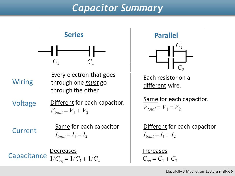 Capacitor Summary Series Parallel Wiring Voltage Current Capacitance